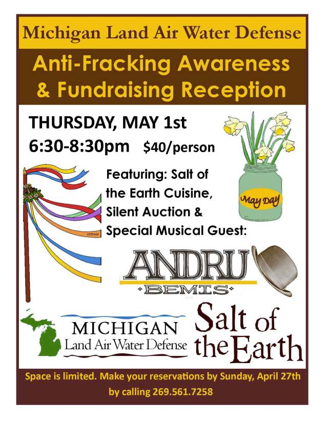 Join us on May 1 at 6:30 p.m. at Salt of the Earth Restaurant in Fennville!